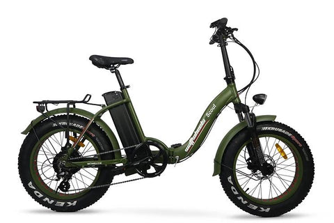 "Wattwheels Scout Easy Entry Low Step-through folding ebike with fat 20""x4"" tires and throttle"