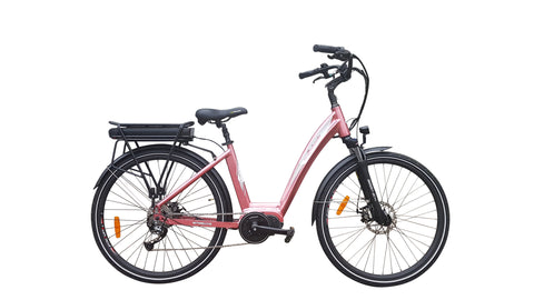 Watt Wheels Townie 2018 pink ebike with mid mount Bafang motor, disk brake and front suspension forks