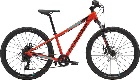 "2019 Cannondale 24"" Trail Bike for Boys who want to ride off road on mountain bike trails. Front suspension, disk brakes, 8 gears with shimano twist shifter."
