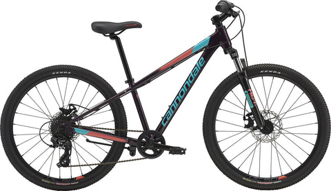 "2019 Cannondale 24"" Trail Bike featuring disk brakes, 8 gears, Shimano twist shifter and front suspension forks."