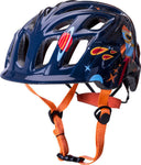 Funky kids bike helmet with galaxy print and orange strap