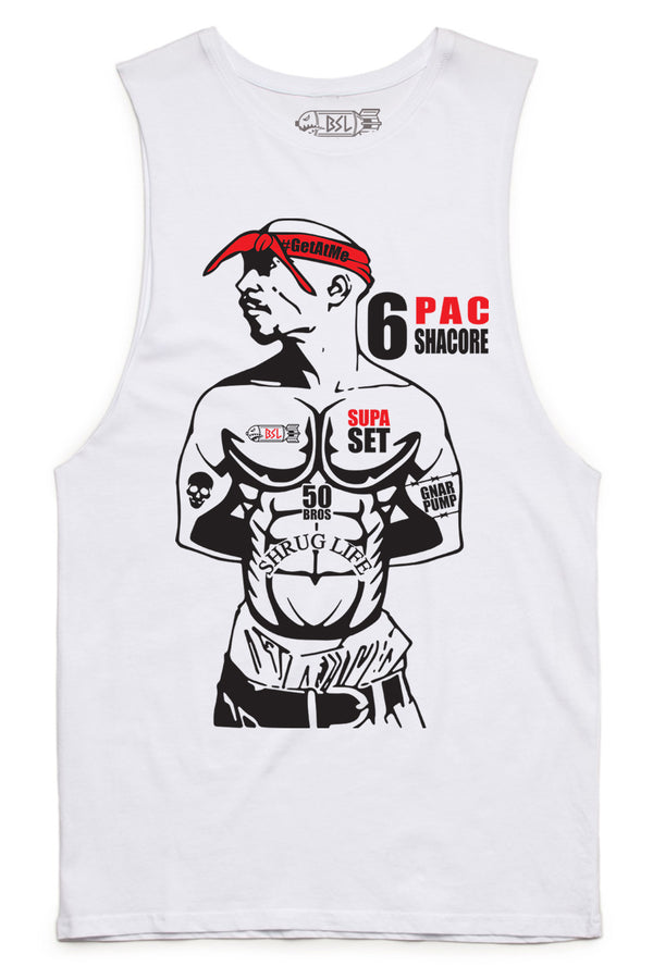 6 PAC Muscle Tank Cut-Offs - WHITE