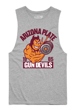 Arizona Plate Gun Devils College Tank Cut-Offs - Heather Grey