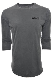 BSL Elongated 3/4 Sleeve Tee - Black Acid Wash