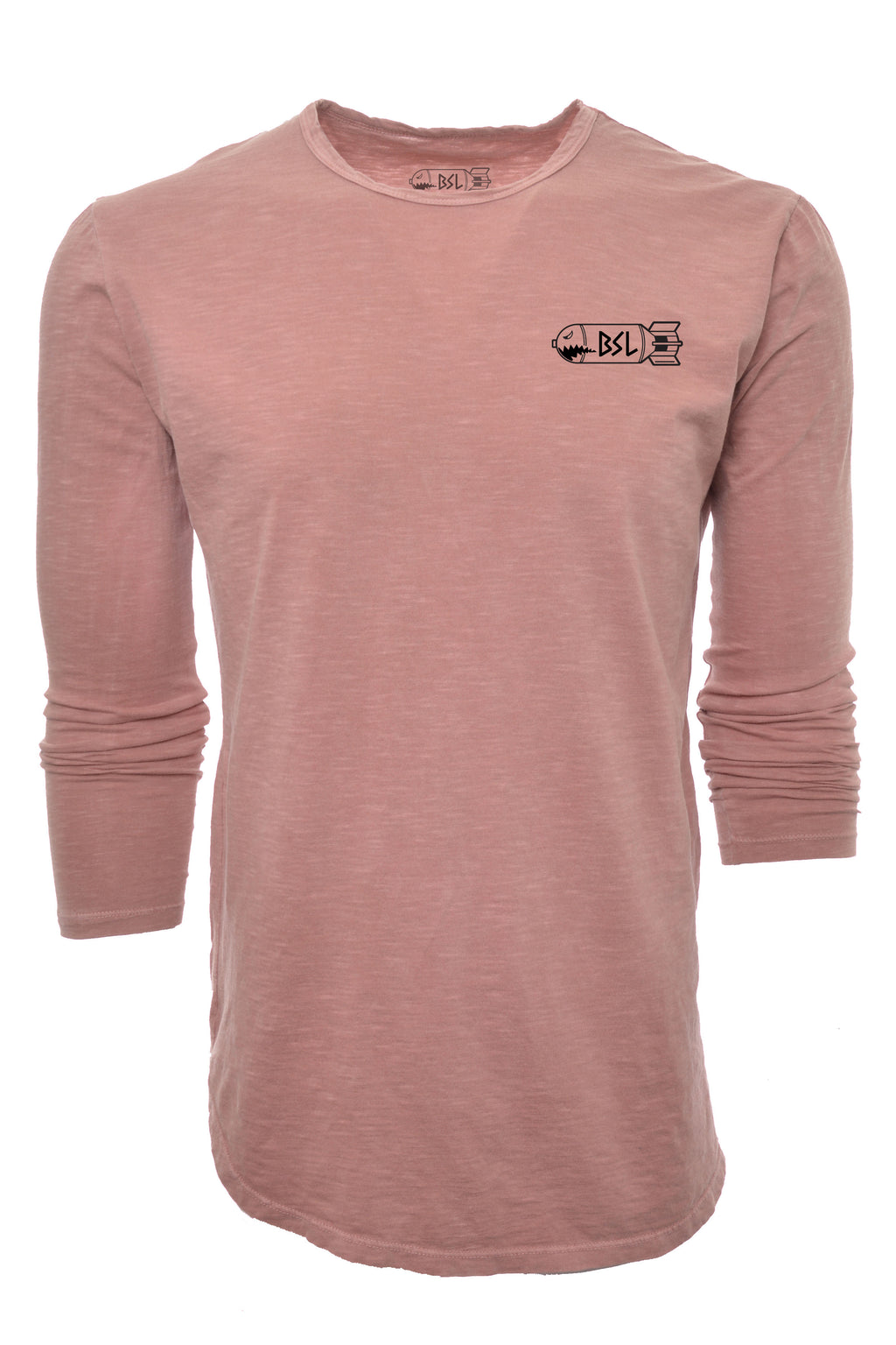 BSL Elongated 3/4 Sleeve Tee - Salmon Acid Wash