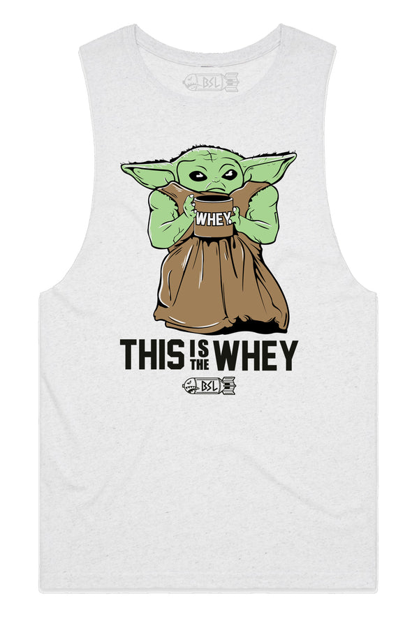 This Is the Whey Baby Growda Tank Cut-Off - White Heather