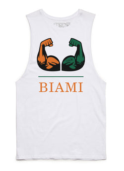 Biami College Tank Cut-Offs - White