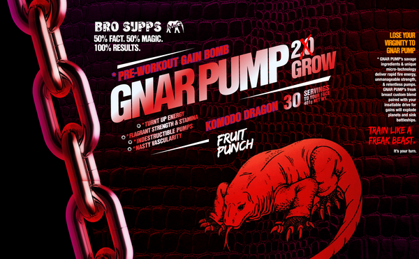 BroSupps Gnar Pump 2.Grow Pre-Workout Komodo Dragon - Fruit Punch