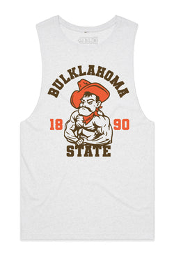 Bulklahoma State College Tank Cut-Offs - Heather White