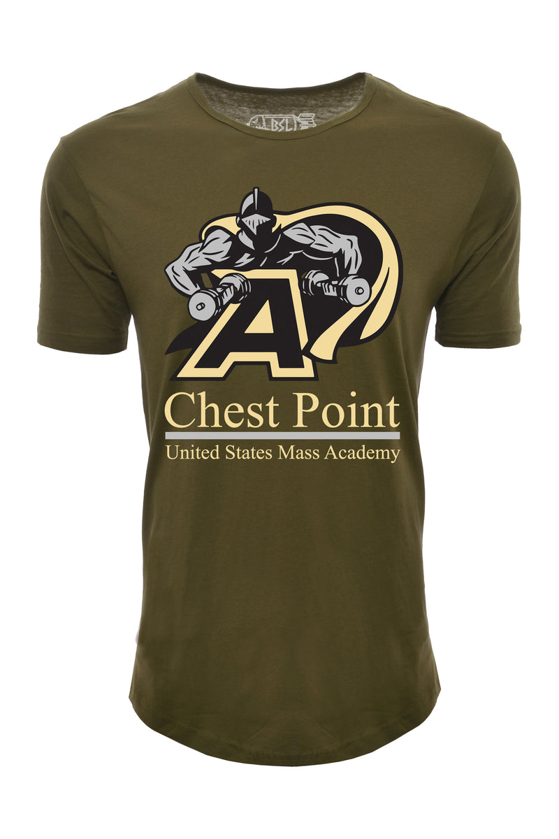 Chest Point Elongated College Shirt - Army Green