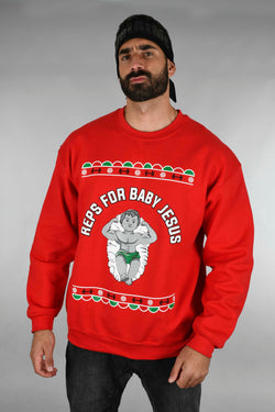 BSL Reps for Baby Jesus Christmas Sweater - Red