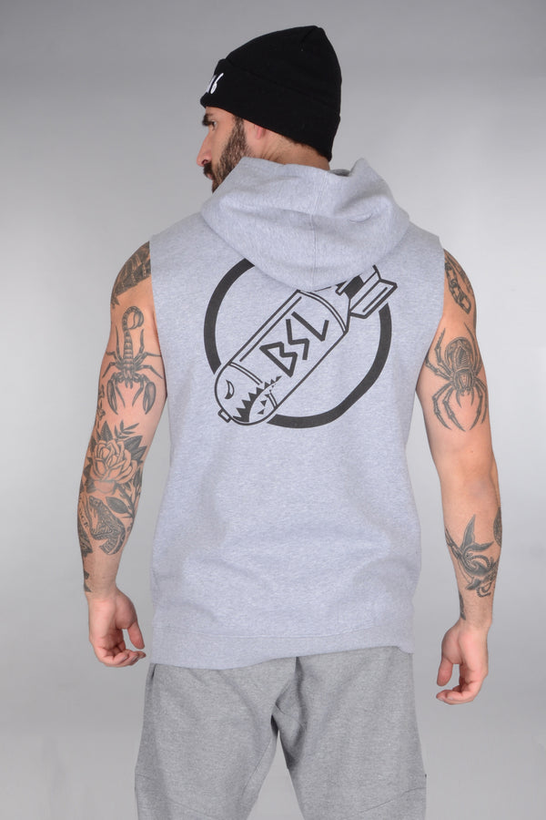 BSL The Perfect Cut-Off Circle Bomb Logo Hoodie - Grey