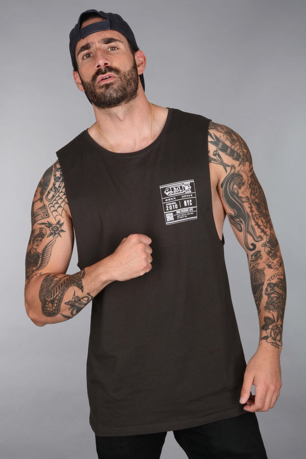 BSL Circle Bomb Logo Muscle Tank Cut-Off - Coal