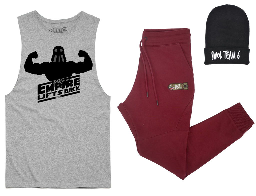 The Ultimate Dom Costume - Empire Lifts Back Cut-off, Burgundy Joggers, Beanie