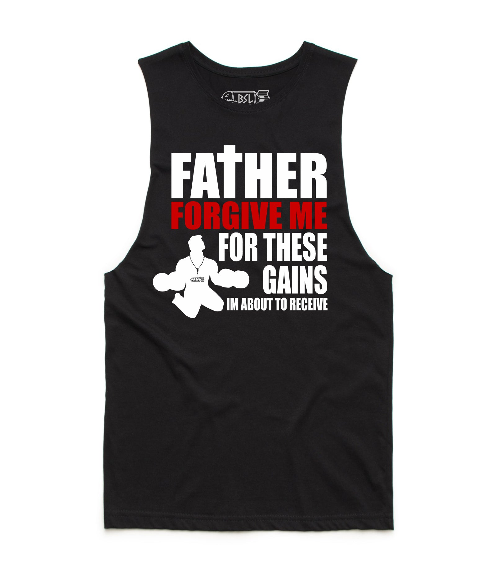BSL Father Forgive Me Muscle Tank Cut-Offs - Black