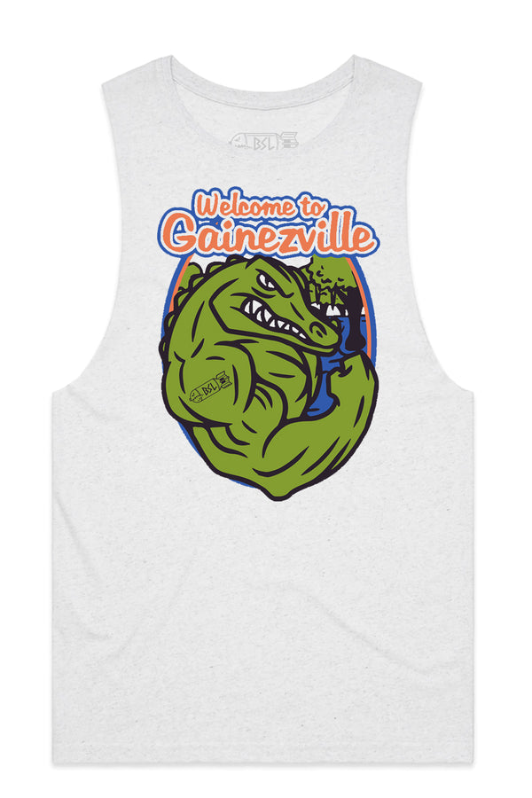 Gainezville College Tank Cut-Offs - Heather White