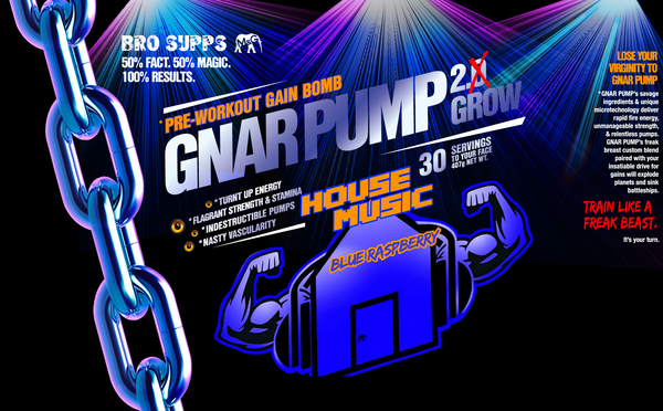 BroSupps Gnar Pump 2.Grow Pre-Workout House Music  - Blue Rasperry