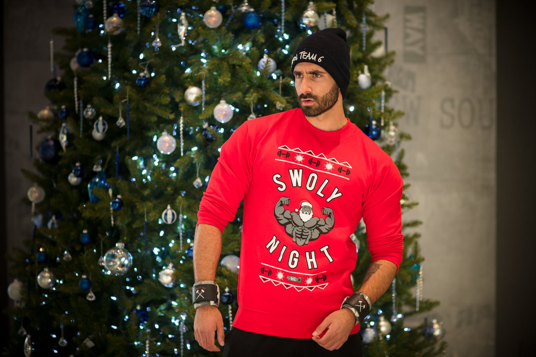 BSL Swoly Night Christmas Sweater WITH Sleeves - Red
