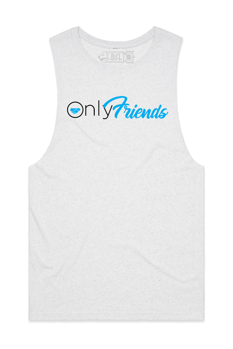 Only Friends Tank Cut-Offs - Heather White