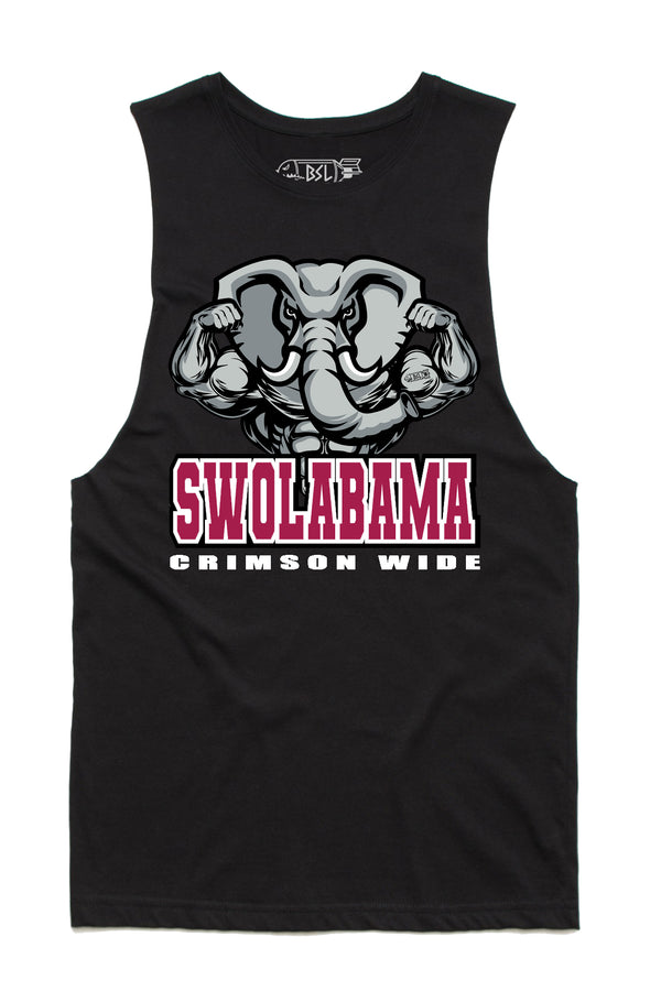 Swolabama Crimson Wide College Tank Cut-Offs - Black