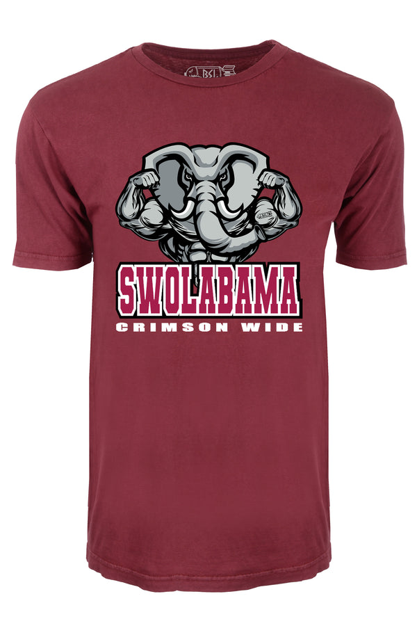 Swolabama Crimson Wide College Tee - Vintage Red