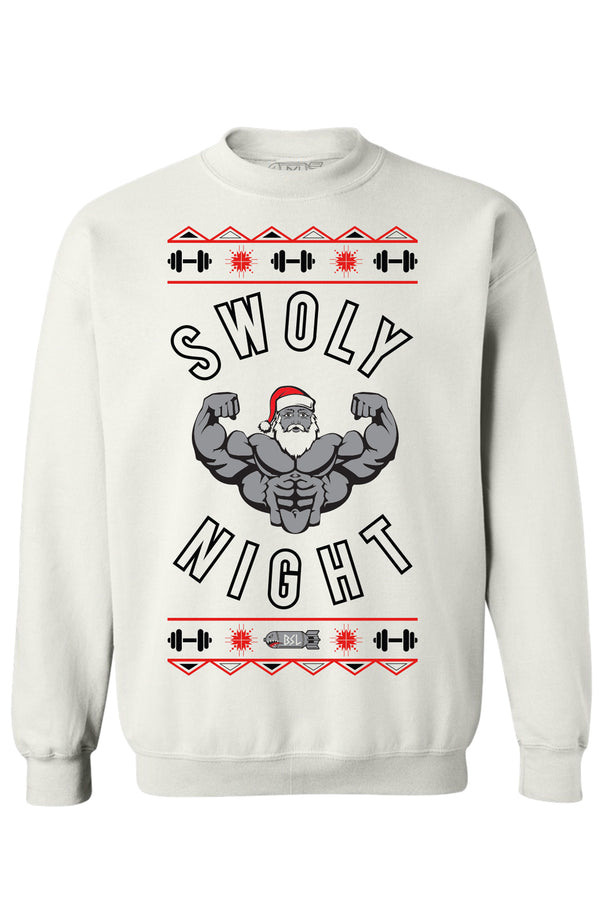 BSL Swoly Night Christmas Sweater - White
