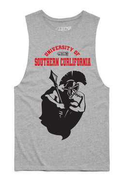 Southern Curlifornia College Tank Cut-Offs - Heather Grey