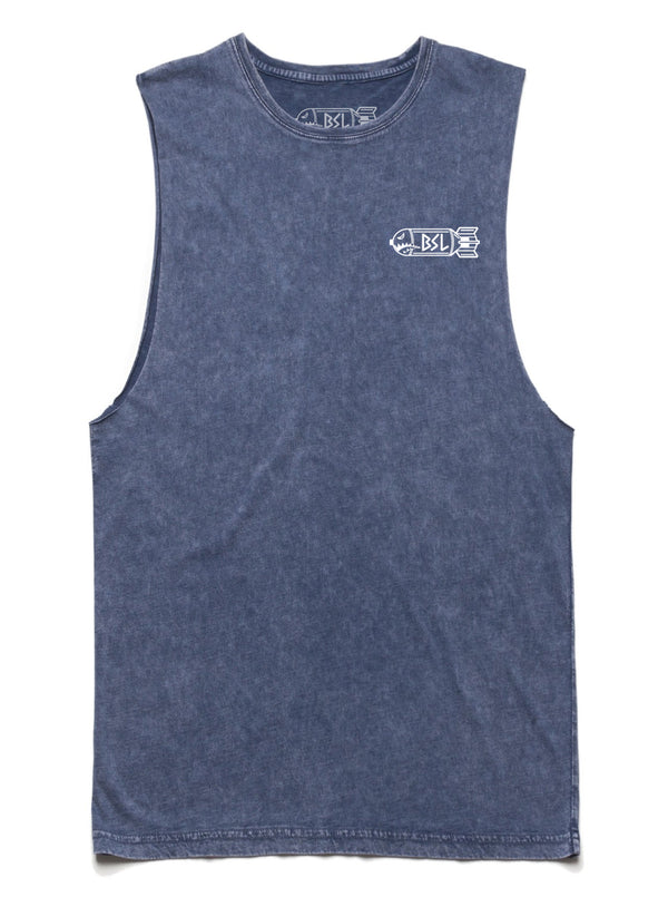 BSL Logo Muscle Tank Cut-Offs - Blue Stone Mineral Wash