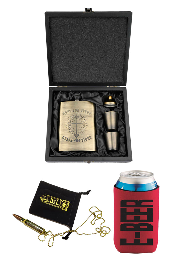 BSL Drinking Bundle (Stainless Steel Flask Set, Bullet Necklace Bottle Opener, E-Beer Koozie)