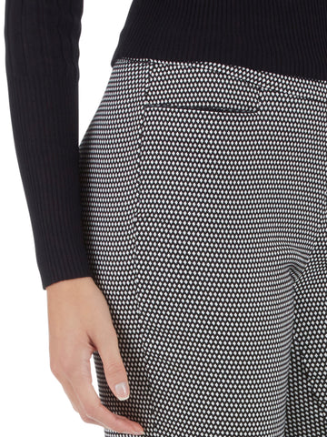 Millennium Stretch Diamond Print Leather Trim Pants