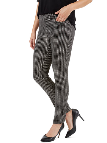 Leather Trim Flat Front Ponte Knit Pants