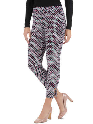 Millennium Stretch Scribble Floral Print Ladder Cuff Pants