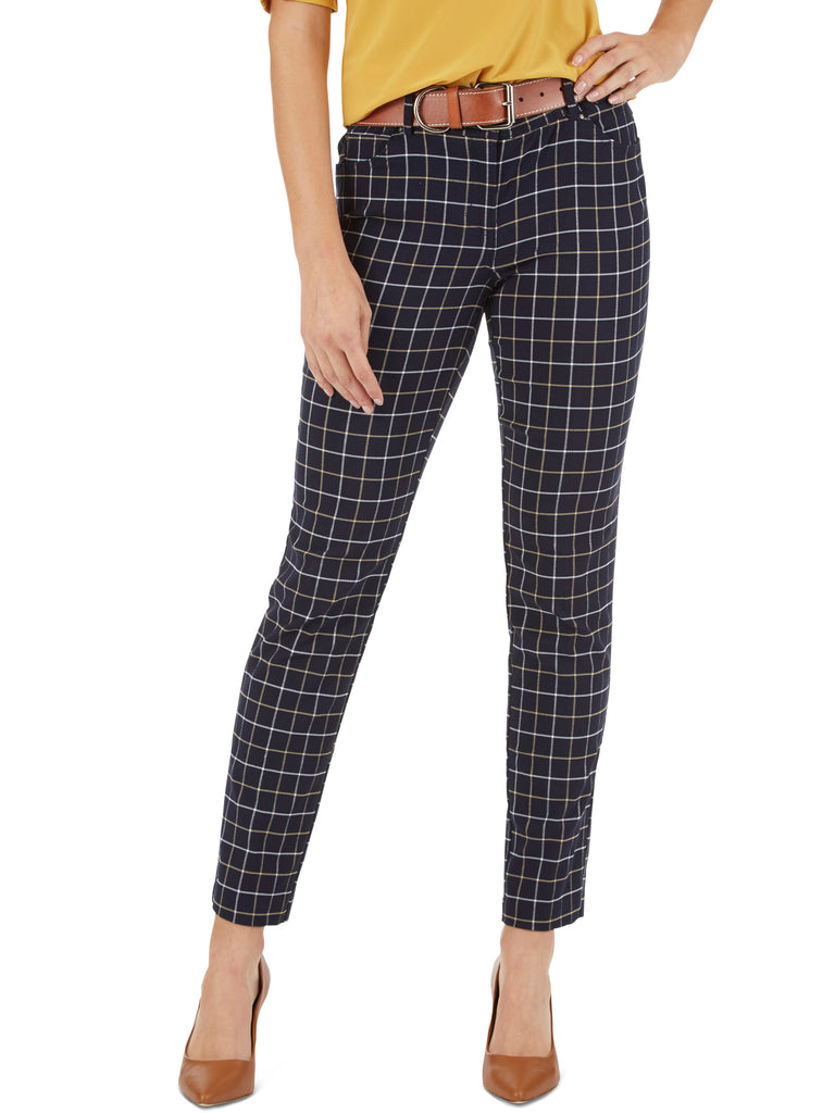 Windowpane Plaid Five Pocket Jean Style Pants