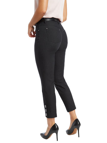Buckle Cuff Stretch Straight Leg Pants