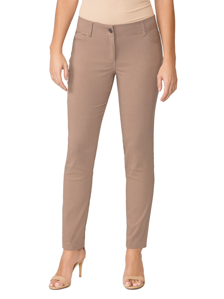 Petite Five Pocket Stretch Straight Leg Pants