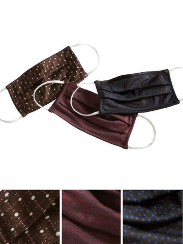Burgundy Paisley Trio Pleated Face Masks