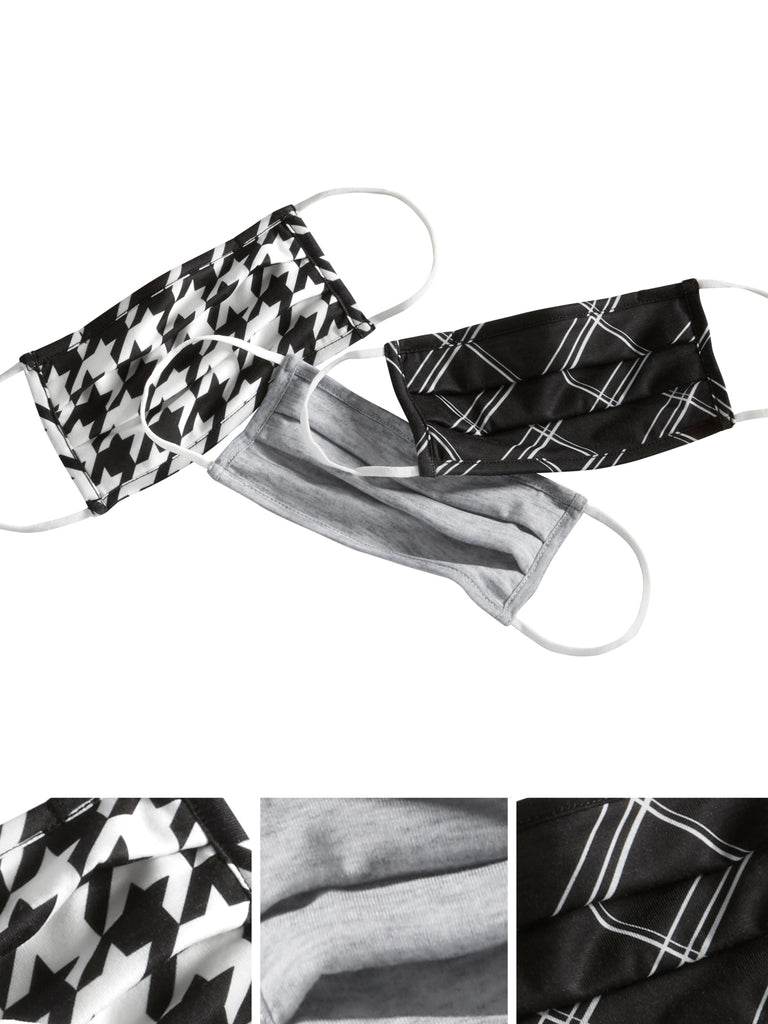 Houndstooth Trio Pleated Face Masks