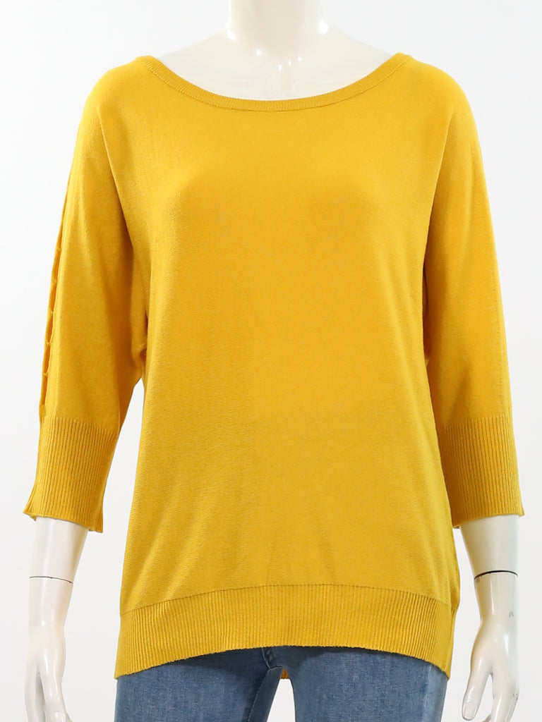 Rib Neck Dolman Sweater