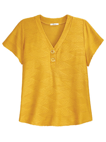 Plus Low V-Neck Textured Top
