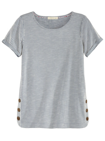 Lace Ladder Sleeve Slub Knit Tee