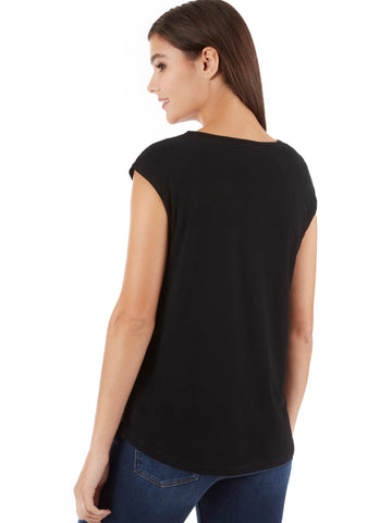 Crystal Crepe Zipper Sleeveless Top