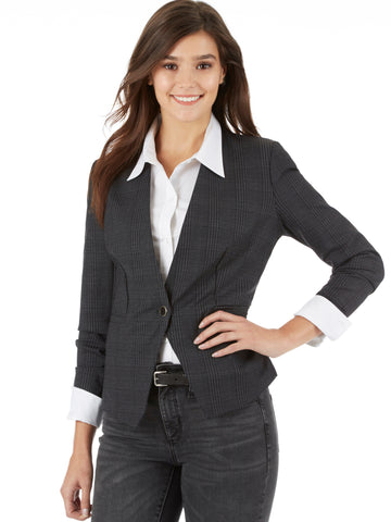 Floral Plaid Print Single Button Blazer