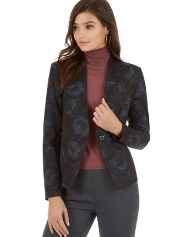 Crosshatch Print Single Button Blazer