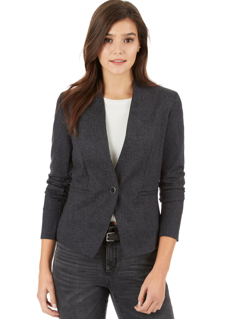 Tonal Plaid Print Single Button Blazer