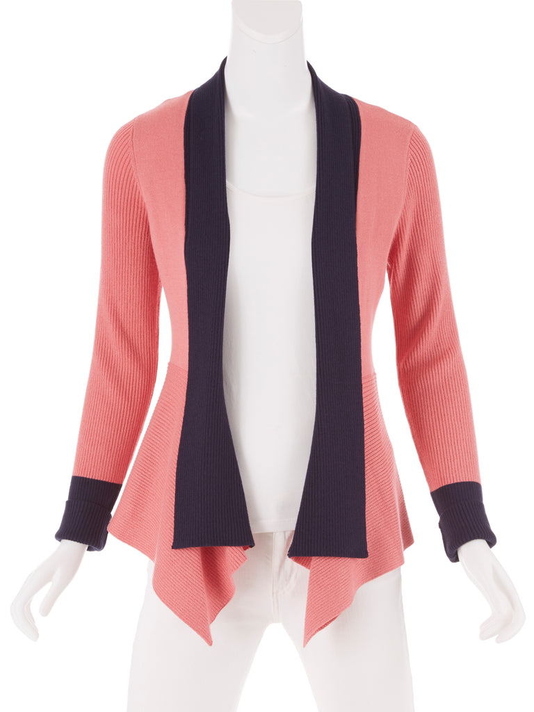Ribbed Coloblock Open Front Cardigan