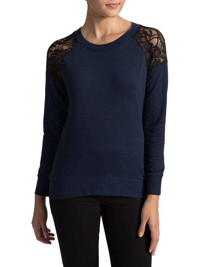 Lace Shoulder Long Sleeve Tee
