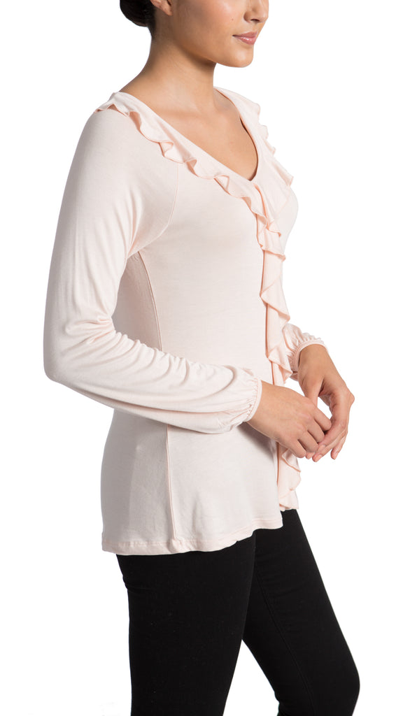 Ruffle Front Long Sleeve Stretch Jersey Top