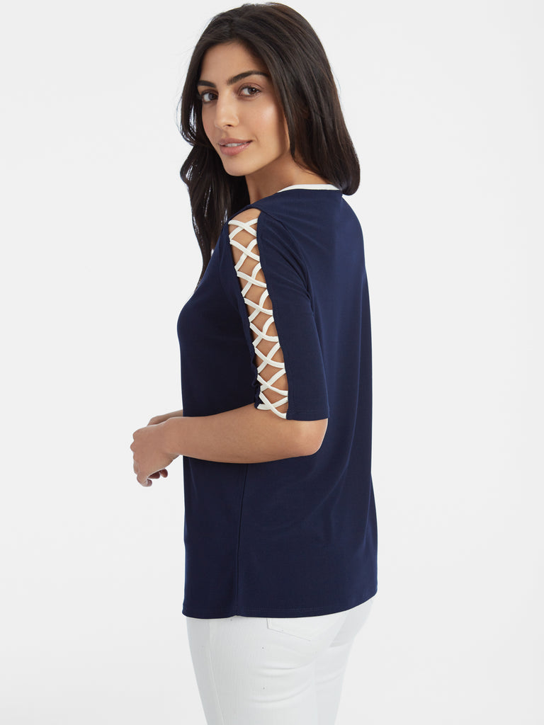 Ladder Sleeve Scoop Neck Crepe Top