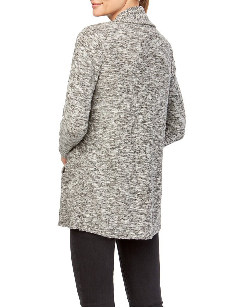 Marled Knit Draped Open Front Pocket Cardigan
