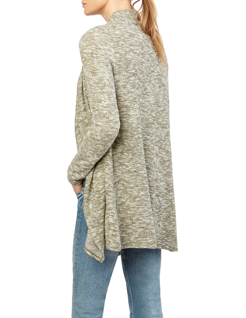 Marled Knit Draped Open Front Woven Trim Cardigan